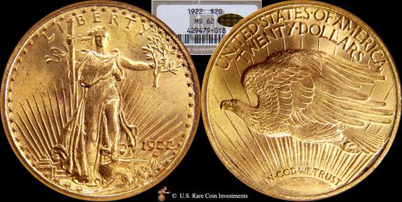 1922 Saint Gaudens 1922 20 St Gaudens Ngc Ms62 Cac Gold