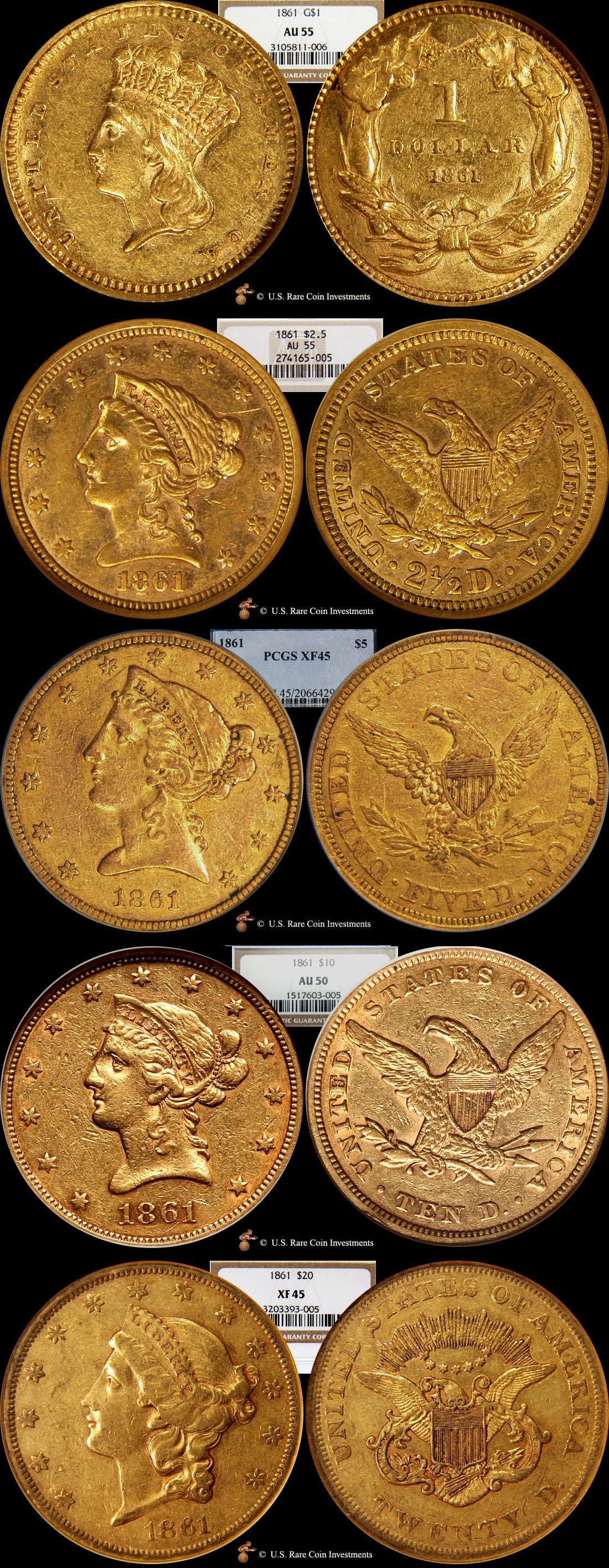 1861 Civil War Gold Set Civil War Gold Coins Set