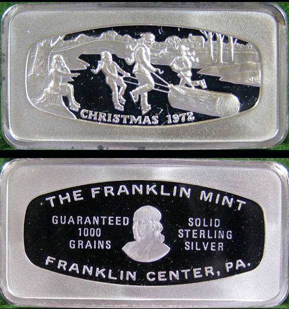 Franklin Mint Christmas Bars 1972 Silver Bar