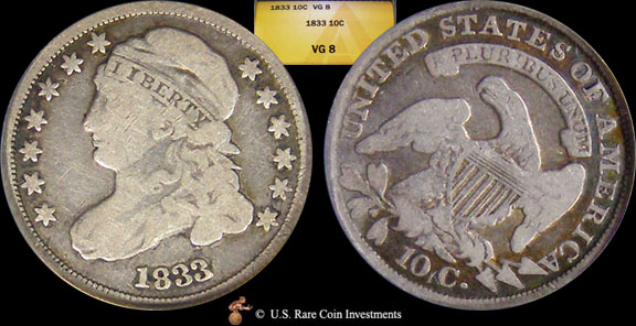 1833 Dime 1833 10c Anacs Vg8 Dimes For Sale